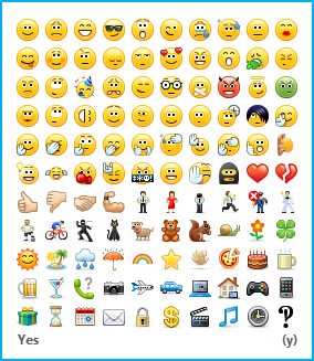 Snimak ekrana koji prikazuje dostupne emotikone i kontrolu za njihovo uključivanje i isključivanje