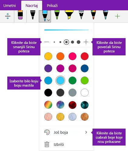 Opcije zapisa perom poteza mastilom širina i boja u programu OneNote za Windows 10