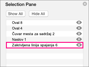 Prikazuje konektor na dnu liste u oknu za izbor