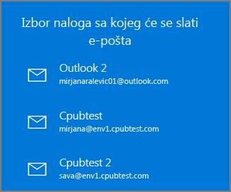 Odaberite nalog da biste poslali e-poruku iz