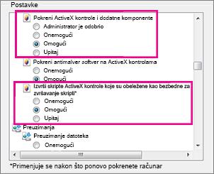 Omogućavanje ActiveX kontrola za učitavanje i pokretanje u programu Internet Explorer