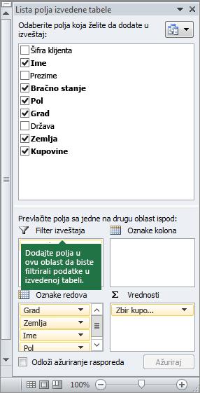 """Stavka """"Filter izveštaja"""" u oknu liste polja izvedene tabele"""
