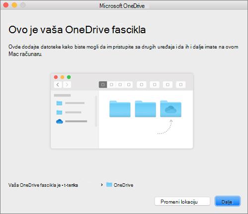 """Snimak ekrana stranice """"Ovo je OneDrive fascikla"""" u čarobnjaku """"Dobro došli u OneDrive"""" na Mac računaru"""