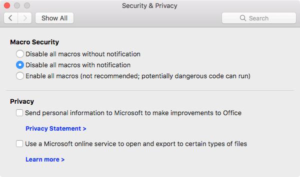 Prikazuje makro bezbednosne opcije za bezbednost i privatnost