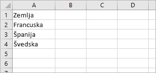 """Ćelija A1 sadrži """"Zemlja"""", a ćelije od A2 do A4 sadrži imena zemalja: Francuska, Španija, Švedska"""