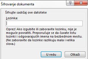 Šifrovanje dokumenta dijalog