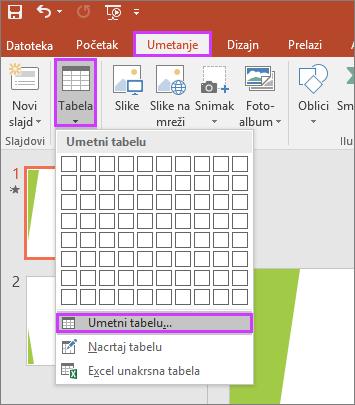 """Prikazuje opciju """"Tabela"""" na kartici """"Umetanje"""" na traci u programu PowerPoint"""