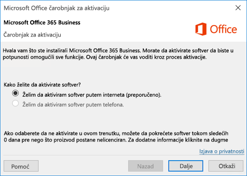 Prikazuje čarobnjak za aktiviranje za Office 365 Business