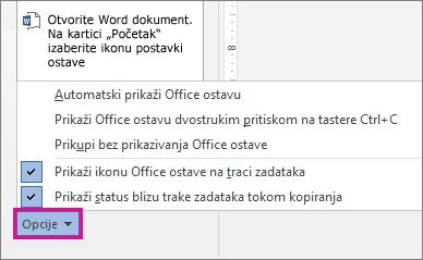 Opcije ostave u programu Word 2013