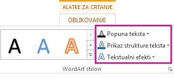 """Grupa """"WordArt stilovi"""" na karticu """"Format alatki za crtanje"""""""