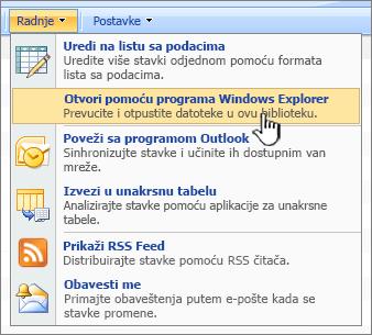 Otvori u programu Windows Explorer meni opciju u okviru radnje