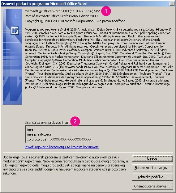"""Prozor """"Osnovni podaci o programu Microsoft Office Word 2003"""""""