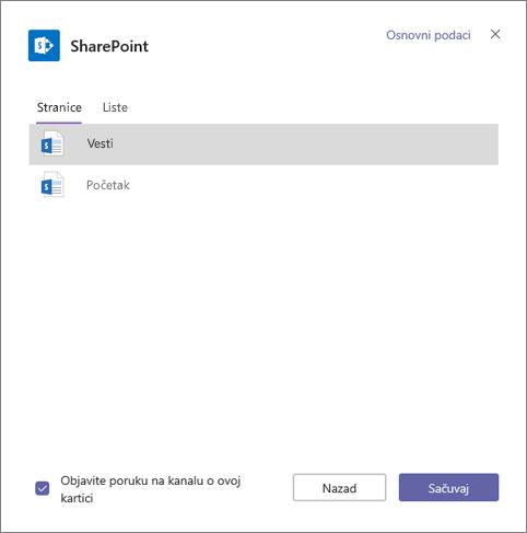 SharePoint kartica stranice