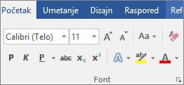 """U programu Word, na kartici """"Početak"""" izaberite font i veličinu fonta."""