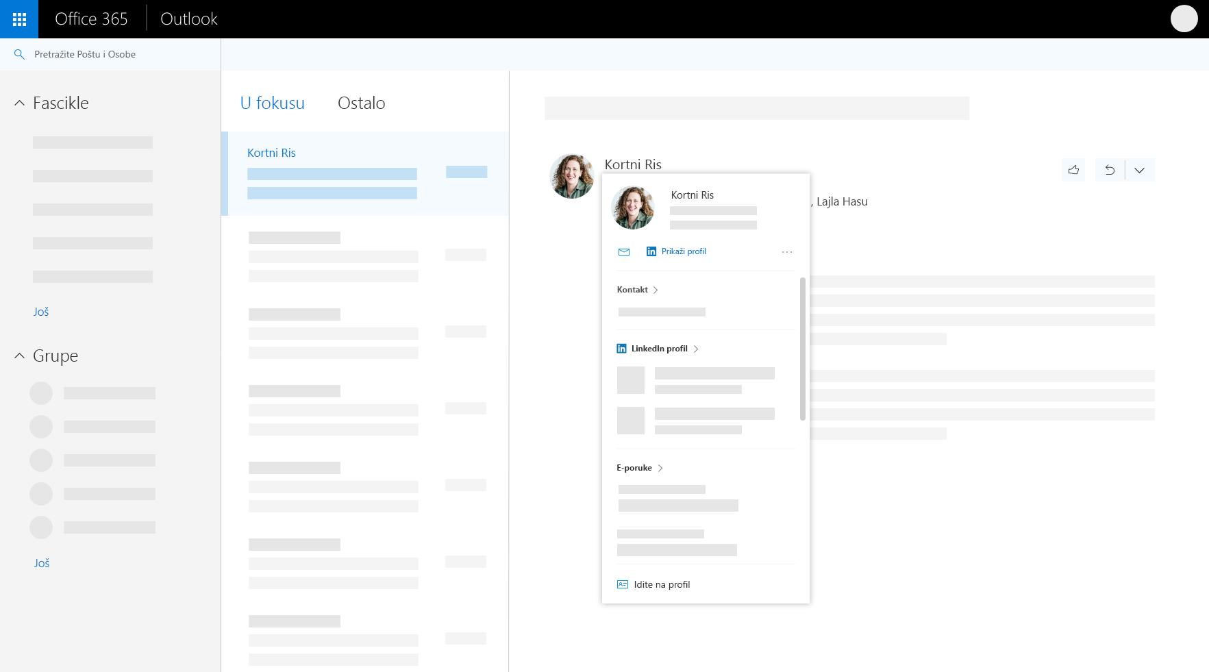 Kartica profila u programu Outlook na Vebu