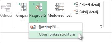 """Kliknite na dugme """"Razgrupiši"""", a zatim izaberite stavku """"Obriši prikaz strukture"""""""