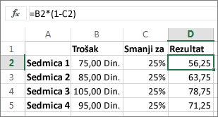 Primer koji prikazuje smanjivanje sume za procenat