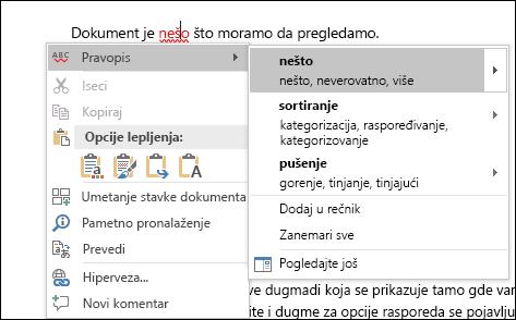 Uređivač koristi pametna usluge preporučiti pravopisa i kontekst ispravke.