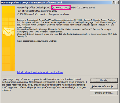 """Snimak ekrana koji prikazuje gde se pojavljuje broj verzije programa Outlook 2007 u dijalogu """"Osnovni podaci o programu Microsoft Office Outlook""""."""
