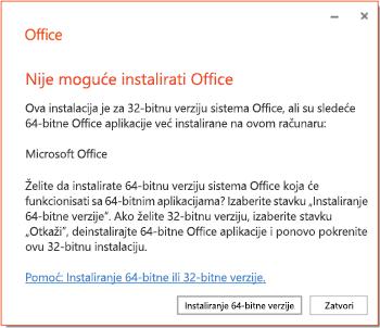 Poruka o grešci pri instalaciji ako postoji problem sa nekompatibilnošću 32-bitnih ili 64-bitnih verzija