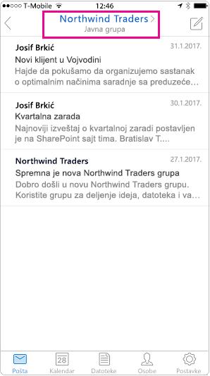 Prikaz Outlook mobilnog razgovora sa istaknutim zaglavlja