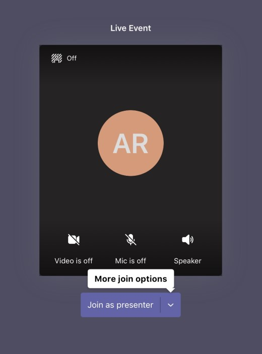 Live event pre-join screen with button to join as a presenter