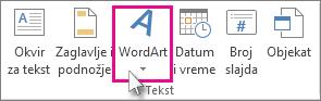 Kliknite da biste dodali WordArt tekst
