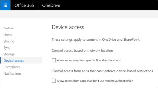 Pristup karticu uređaj centra administracije OneDrive