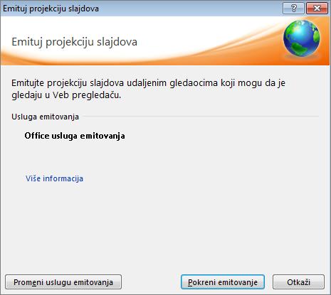 """Prikazuje dijalog """"Emitovanje projekcije slajdova"""" u programu PowerPoint 2010"""