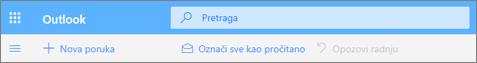 """Snimak ekrana prikazuje polje """"Upit za pretragu"""" u usluzi Outlook.com."""