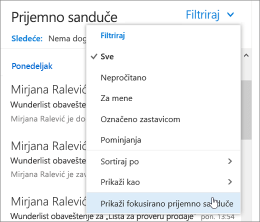 Snimak ekrana menija za filtriranje sa Prikaži usmerene na prijemno poštansko sanduče izabran