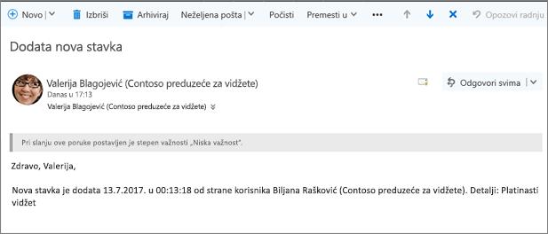 Poslao Microsoft Flow kada stavku promenio e-pošte