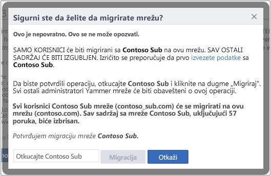 Snimak ekrana dijaloga u kojem potvrđujete da želite da migrirate Yammer mrežu
