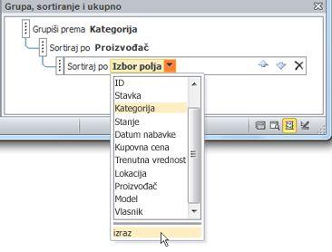 """Izbor opcije izraza u oknu """"Grupisanje, sortiranje i ukupna vrednost""""."""