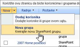 Kreiranje nove grupe