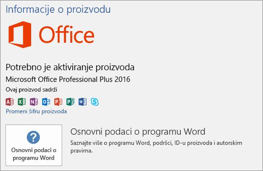 """Prikazuje """"backstage"""" prikaz za verziju sistema Office sa količinskim licenciranjem"""