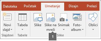 Snimak ekrana koji pokazuje kako se dodaju slike na mreži u Office aplikacije.