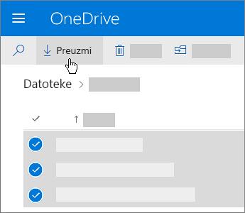 Snimak ekrana izbora datoteka u usluzi OneDrive i njihovog preuzimanja.