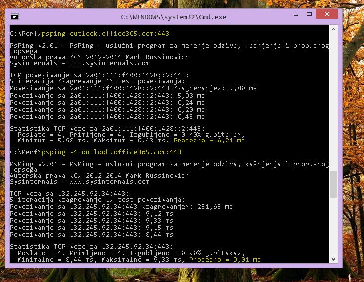 Pronađite svoju IP adresu koristeći PSPing na komandnoj liniji na klijentskom računaru.