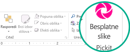 """Kada instalirate Pickit programski dodatak za besplatne slike, on se pojavljuje krajnje desno na kartici """"Početak"""" na traci."""