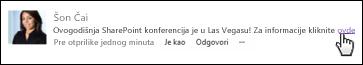 Veza veb stranice u poruci oblikovana tekstom za prikaz