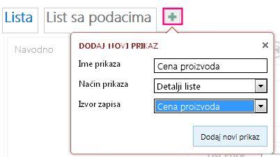 Dodavanje prikaza lista sa podacima upita u izvornu tabelu.