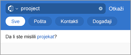 Prikazuje Outlook pretragu pomoću usluge Tipos