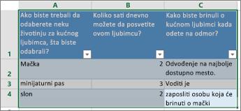 Da biste odštampali pitanja i odgovore ankete, izaberite ćelije koje sadrže odgovore.