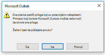 Outlook upozorenje o slanju priloga koji možda nije bezbedan