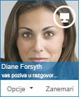 Snimak ekrana dijaloga sa zahtevom za razmenu trenutnih poruka