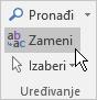 """Kliknite na dugme """"zameni"""" u programu Outlook, oblikovanje teksta, u okviru uređivanje."""