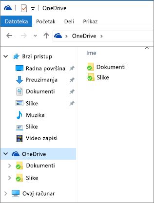 OneDrive u Istraživaču datoteka