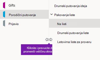 Promena veličine okna za navigaciju u programu OneNote za Windows 10