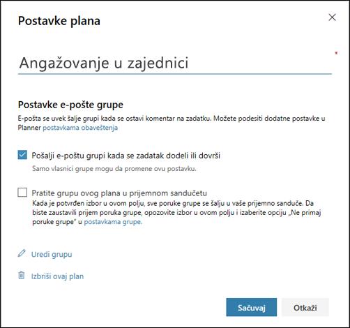 """Snimak ekrana: prikazuje postavku """"Pošalji e-poštu u grupu plana..."""" za postavke plana"""